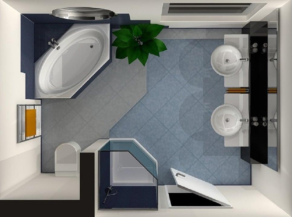 Il bagno di 4 5 mq quando i piccoli spazi sprigionano la fantasia d 39 arredo casina mia - Progetto bagno 2 mq ...