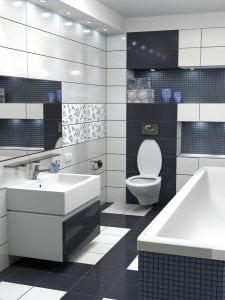 Rivestimento bagno moderno grigio e bianco - Casina Mia