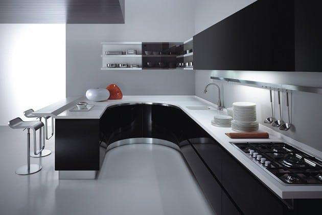 Cucina Bianca Lucida E Top Nero.Cucina Bianca E Nera Una Scelta Razionale Per Un Effetto