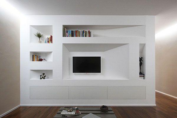 Libreria in cartongesso le idee pi creative per for Pareti attrezzate in muratura