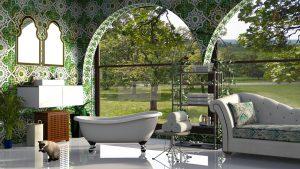 elegante bagno con vista esterno 300x169 - Bagni di montagna: come realizzare il progetto d'arredo ideale per una baita o uno chalet