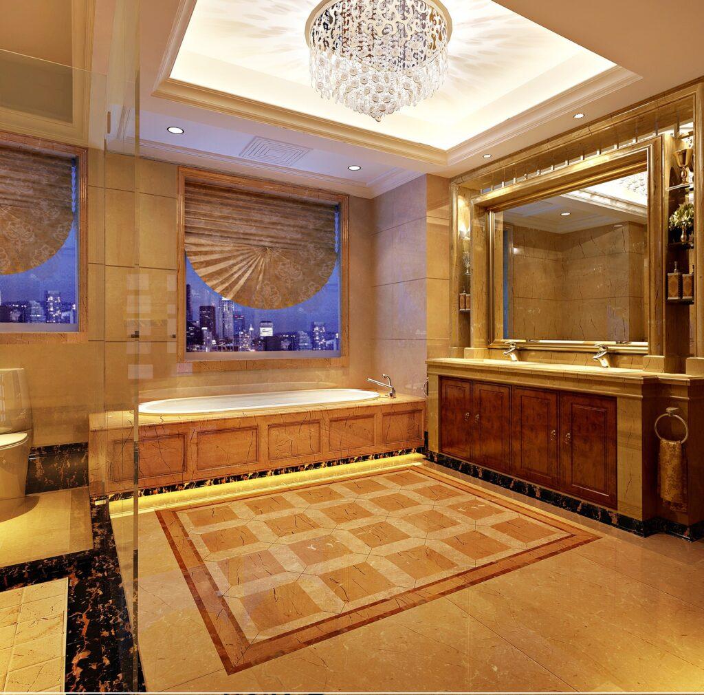 bagno in marmo rosa 1024x1010 - Travertino: caratteristiche e utilizzi