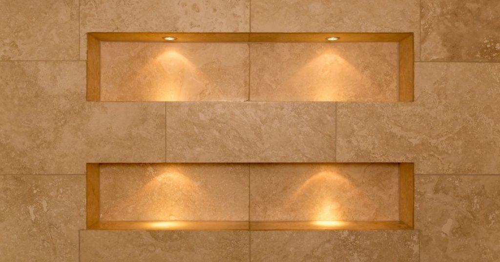 nicchia doccia illuminata